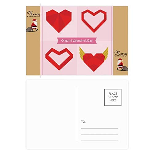 Red Abstract Christmas Heart Origami Santa Claus Gift Postcard Thanks Mailing 20 pcs