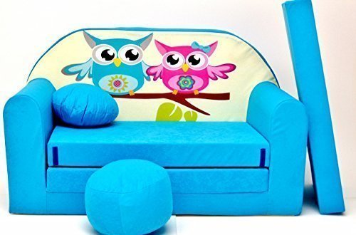 Pro Cosmo B30, Divano Letto con Pouf/poggiapiedi/Cuscino, in Tessuto, per Bambini, 168x 98x 60cm, Blu