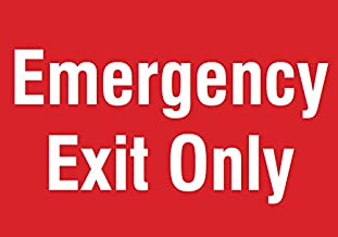 Emergency Exit Only Red Sign - Large Business Door Warning Directional Signs - Aluminum Metal 4 Pack, 12x18