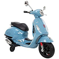 Ideal for ages 3-7 years old with a maximum weight of 65 lbs. Runs up to 2.0 mph and features training wheels to encourage balance in young riders Realistic engine sounds are fun and interactive for young children; plus this electric ride on Vespa ha...