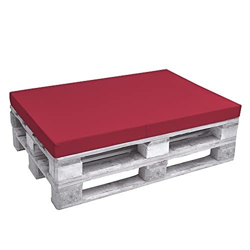 Beautissu Cojín Asiento para palés Eco Pure - Cojín Plegable Acolchado Tapicerías In/Outdoor Europalés 120x80x8cm - Rojo