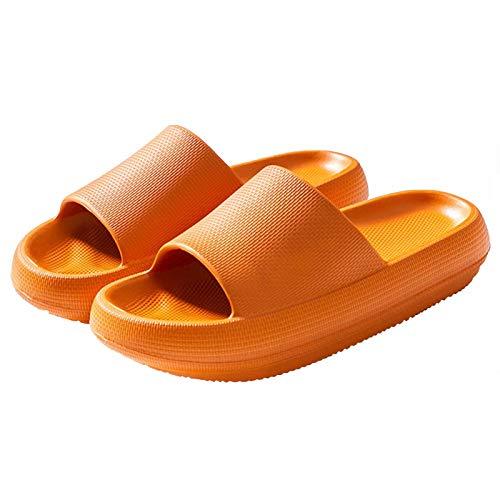 GEWEO Zapatillas de Baño Hombre Mujer Casa Chanclas Unisex Adulto Verano Sandalia Zapatos Playa Piscina Ducha Familia Antideslizante Elástica Cómoda Ligera Indoor Masaje Durable Naranja Talla 42-43 EU