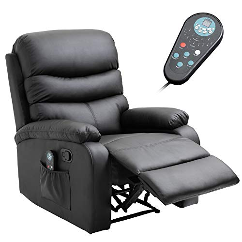 HOMCOM Manual Massage Recliner Chair with Heat and Remote Control, 8 Massaging Points, PU Leather, Black