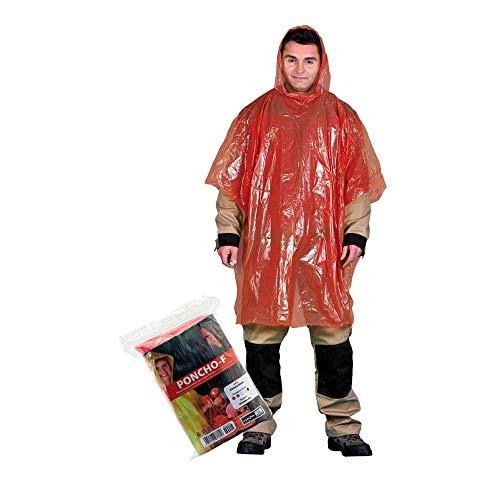 PONCHO-F_C beschermende regenponcho, rood, effen grootte, 20 stuks