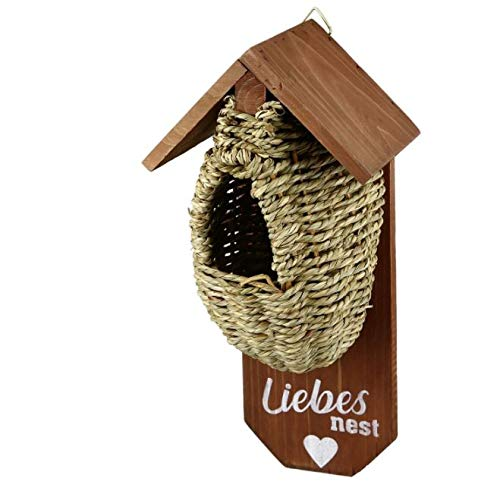 Holz Nistkasten mit Korb Liebesnest zum Hängen Garten Vogelhaus Dekoration