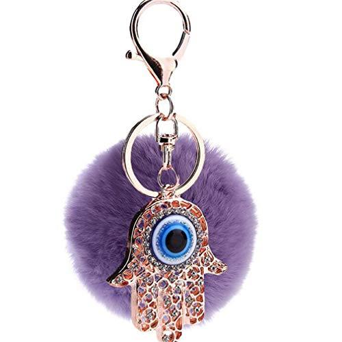 Schlüsselanhänger plüsch Ball glänzend Blaue Augen Hand Strass TaschenanhängerElegant Plüsch-Kugel Auto-Anhänger Pompom Weich Schlüsselring Handtaschenanhänger Dekor bommel Keychain (Hell Violet)