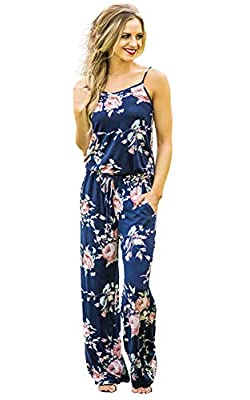 AMiERY Women Sleeveless Floral Print Casual Jumpsuits Dress (M, Blue)
