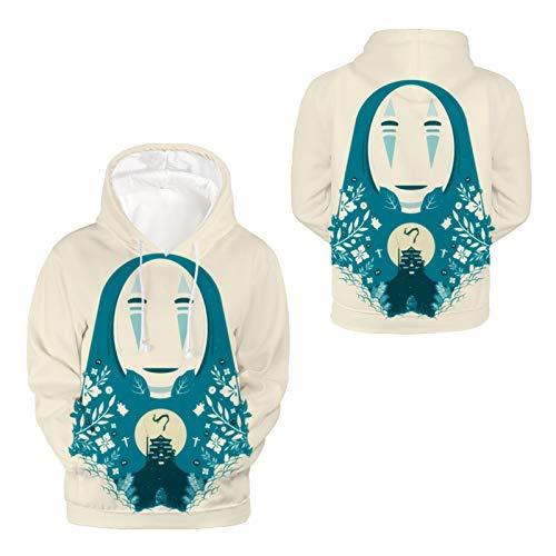 Sudadera para Hombre Mujer 3D Impresión Mi Vecino Totoro Manga Larga Suéter Adolescentes Pullover, con Cordón Y Bolsillo,M