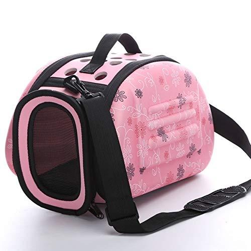 Pet Carrier Bag Portable Outdoor Cat Foldable Travel Pet Bag Puppy Carrying Shoulder Portable Bags Cat Carrier (Color : Pink, Size : L)