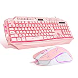 Pink Gaming Keyboard and Mouse Combo,MageGee GK710 Wired Backlight Pink Keyboard and Pink Mouse for Girl,PC Keyboard and Adjustable DPI Mouse for PC/Laptop/MAC(Pink)