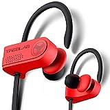 TREBLAB XR700 Wireless Sports Earbuds - Custom Adjustable Earhooks, PRO Running Bluetooth 5.0 Headphones for Athletes. IPX7 Waterproof, Sweatproof, in-Ear Headset, Noise Cancelling Earphones (Red)