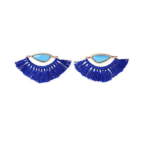 Pendientes para mujer elegantes con flecos azules pendientes con forma de abanico...