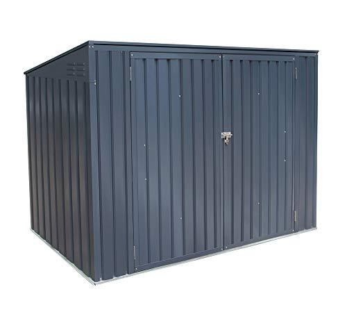 50NRTH Metallgerätebox und Mülltonnenbox 7x3 Anthrazit // 235x100x131 cm (BxTxH) // Aufbewahrungsbox und Gartengerätebox