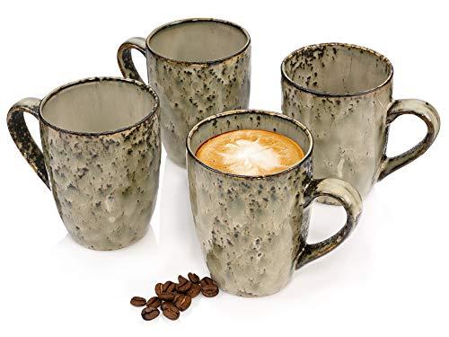 Sänger Kaffeebecher Set Pompei aus Porzellan 4 teiliges Set - Füllmenge der Becher 350 ml - Tassen Set im modernen Vintage Design mit ausgefallener Maserung
