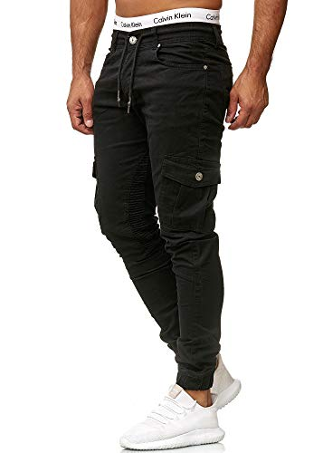 OneRedox Herren Chino Pants   Jeans   Skinny Fit   Modell 3207 Schwarz 31/32