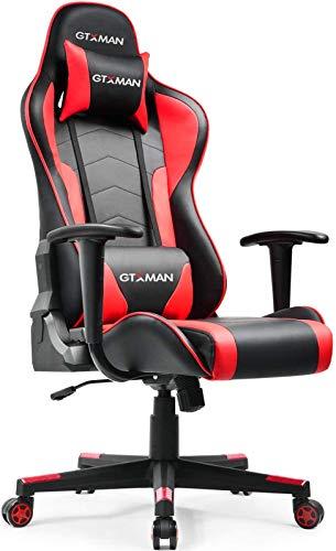 GTXMAN ゲーミングチェア リクライニング オフィスチェア キャスター付き 安定の肘掛付き ゲーム用 椅子(X188-RED)