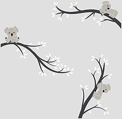 BDECOLL diseño Koala de pared,Pegatina de pared vinilo adhesivo decorativo para cuartos, dormitorios,cocina,sala de estar(Negro)