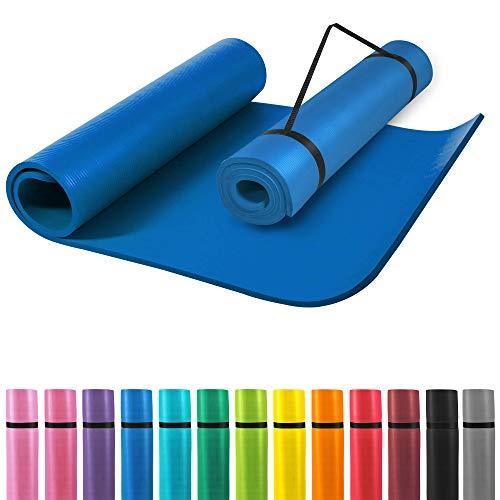 GORILLA SPORTS® Yogamatte mit Tragegurt 190 x 60 x 1,5 cm rutschfest u. phthalatfrei – Gymnastik-Matte für Fitness, Pilates u. Yoga in Royal