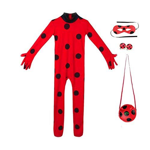 Mädchen Party Kostüm Cosplay Ladybug mit Ohrclips Tasche & Maske, Kinder Festlich Overall für Marienkäfer Karneval Jumpsuit L(Gr.134/140)