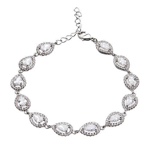 Pulsera de lujo - plateado en plata con piedras zirconia cúbico brillantes y cristales - Nadet por Bello London