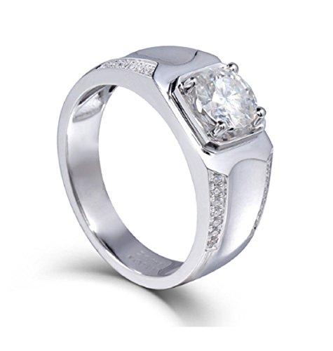 Gowe 1Karat CT F Farbe Test positiven Moissanit Diamant Ring 14K 585Weiß Gold Hochzeit Engagement Ring Luxus Schmuck Geschenk für Herren