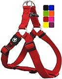 DDOXX Arnés Perro Step-In Nylon, Ajustable | Muchos Colores & Tamaños | para Perros Pequeño, Mediano y Grande | Accesorios Gato Cachorro | Rojo, S