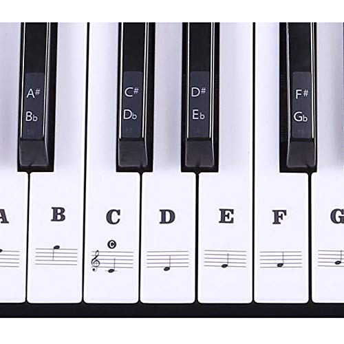 Klaviertastatur-Aufkleber mit 37/49/54/61/88 Tasten, Klavier- und Keyboard-Musiknoten-Aufkleber für weiß und schwarz, transparent und ablösbar für einfachen Klavierunterricht Free Size Schwarz