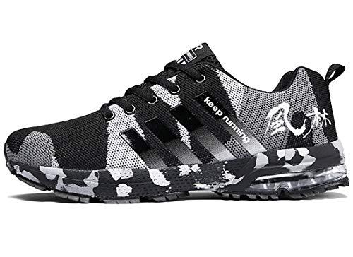 ZKPZYQ Zapatillas de correr para hombre y mujer, con amortiguación, transpirables, ligeras, cómodas y cómodas (41, camuflaje)