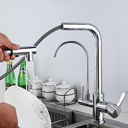 Grifo Cocina 3 Vias con Ducha Extraible Latón Giratorio de Agua Fría y Caliente 360 ° Multifunción Purificación de Agua Recta Grifo de Purificación de Agua-Cromo
