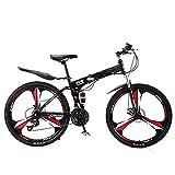 ZZDT Bicicleta Plegable Acero Al Carbono De 21-24 Velocidades Bicicleta De Montaña De Suspensión Total De 24-26 Pulgadas,Bicicleta De Montaña con Freno De Disco Doble para Hombres
