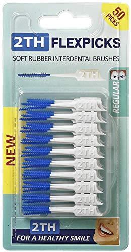 2TH Flexpicks sind 50 Stück Flexible und Weiche Gummistifte, die Plaque zwischen den Zähnen entfernen und entzündetes Zahnfleisch verhindern