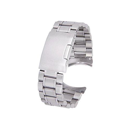 SODIAL(R) Silber massiv Edelstahl Links Uhrenarmband Strap Gebogene Ende Faltschliesse 20 mm