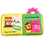 Mega 0-6 Jahre Baby Stoffbuch - Pädagogisches Lernspielzeug Buch - Schnürsenkel Binden Lernen - Knöpfen Lernen - Schleifen Lernen - Uhrzeit Lernen (Schnüren Lernen Lernbuch)