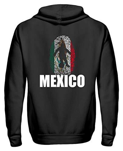 Sudadera con Cremallera Fans de México, Camiseta de Rusia 2018, para Fans de México, fútbol, Huellas Dactilares, diseño Nacional Negro L