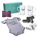 Pregnancy Gifts for First Time Moms – Mom and Dad Est 2021 14 oz Mug Set with Onesie and Baby Socks, Greeting Card - Top New Parents Gifts for Mom and Dad to Be - Idea for Baby Shower, Gender Reveal