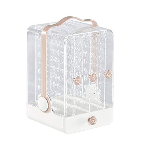 TEAYASON Caja de joyería transparente para mujer, pendientes de joyería, soporte de exhibición con cajones, organizador de joyas para pendientes, pulsera y collar (blanco, rosa), blanco