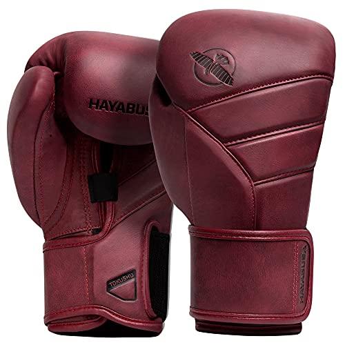 Hayabusa T3 LX Guantes de boxeo de cuero para hombres y mujeres - Borgoña, 16 onzas