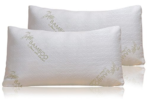 Bamboo Pillow - Shredded Memory Foam - Stay Cool Removable Cover With Zipper - Hotel Quality Hypoallergenic Pillow Relieves Snoring, Insomnia, Neck Pain, TMJ, and Migraines (2 PK Kings)