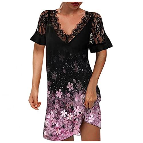 TDEOK Elegante abito da donna con scollo a V, in pizzo, casual, sexy, a tinta unita, Lilla, S