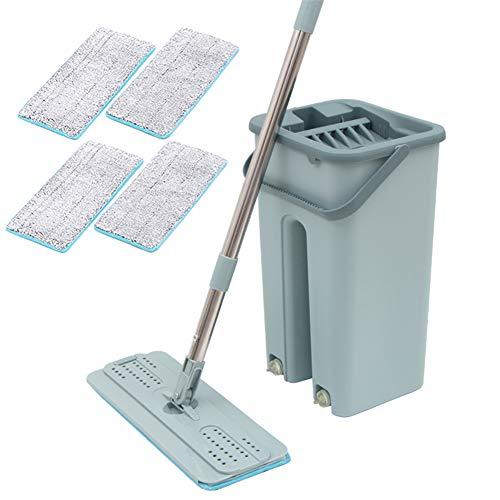 BOLANA - Kit de herramientas de limpieza para fregona con mango de acero inoxidable y rotación de 360 grados para el hogar, fregona plana para limpiar suelos y madera dura, azul, With 4 pieces of cloth
