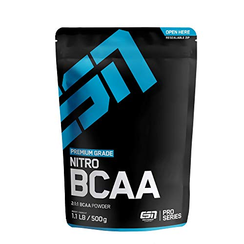 ESN BCAA Nitro Powder – 500 g – Raspberry Iced-Tea – 38 Portionen – L-Leucin, L-Valin, L-Isoleucin ( Branched-Chain Amino Acids = BCAAs ) im bioidentischen Verhältnis 2:1:1 – Vegan – Made in Germany