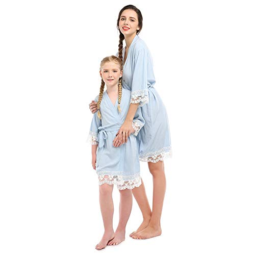 Albornoz de Encaje de algodón para Mujer, Pijama de Seda para Padres e Hijos, Ropa para niños y niñas de la Familia para bebés y niñas.