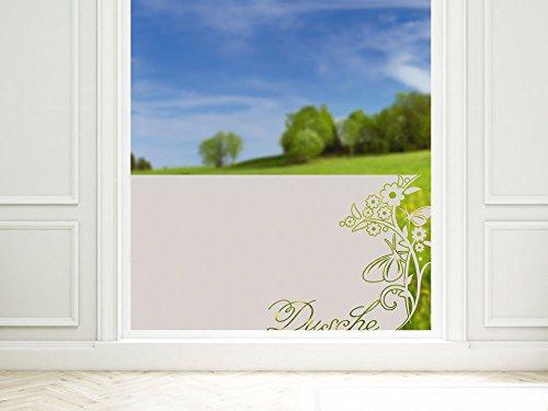 GRAZDesign Sichtschutz Fenster Duschtür Dusche Milchglasfolie für Badezimmer Ornament Spruch / 110x57cm