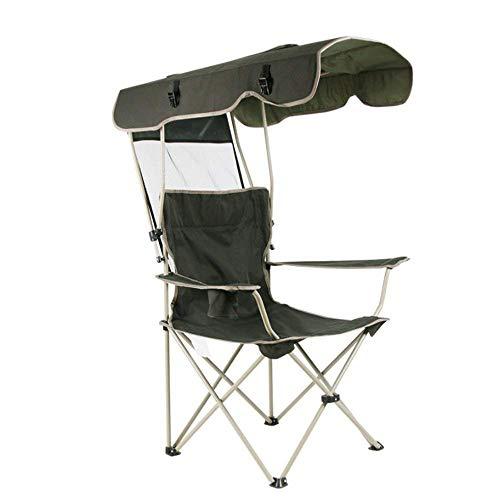 LKJCZ Silla de Camping, Asiento de jardín Plegable con Carpa y portavasos Silla al Aire Libre, Silla de Playa para Viaje/Mar/Tiempo Libre