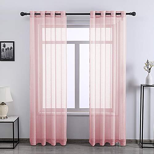 DONREN Peach Pink Sheer Window Curtain Panels - 84 Inch Length Grommet Top Textured Sheer Window Curtains for Girls Room,2 Piece,52 X 84 Inch