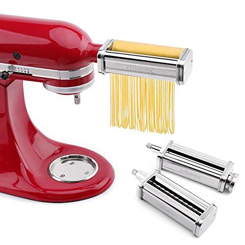 aikeec Rullo per Pasta e Taglierine per Mixer KitchenAid, con Rullo per La Produzione di Sfoglia, Taglierina per Spaghetti e Taglierina per Fettuccine (Set 3 in 1)
