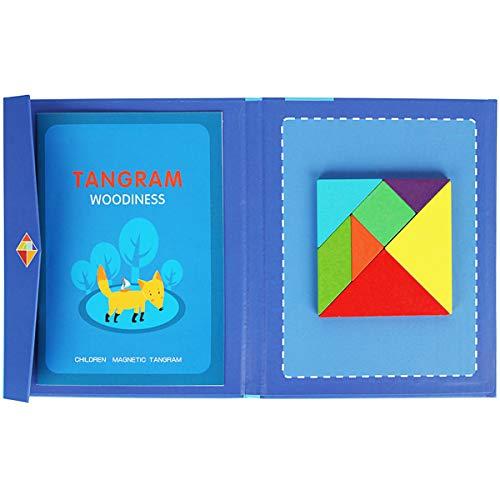 Boosns Tangram Puzzle Juegos de Tangram para Niño Puzzles De Madera Magnético