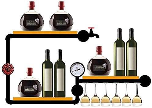 JYDQM Estantes de Vino, Estante de Vino de Pared para Botellas de Vino Vasos de Copas Elegante Alenamiento de Madera Bodega de Vino Estante de Botellas de Vino Montado en la Pared Soporte de Botella