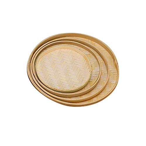 Pantalla de bambú tejida a mano de mimbre de bambú natural, balsa de bambú pintada a mano, balsa de bambú de secado decorativo, bandejas de la cesta del almacenamiento de la cesta del pan