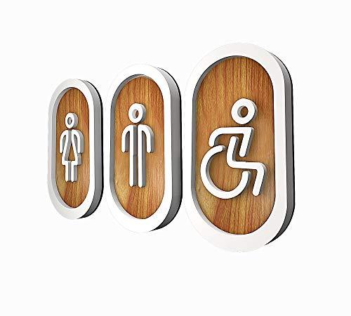 DOJA Barcelona   Targhetta Bagno Legno   Donna + Uomo + Disabili   Colore: Bianco - Marrone   Diametro: 180x100mm   Cartelli Bagno con Adesivo per Porta WC   Uso: Ristoranti, Ufficio, Hotel